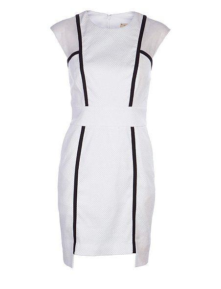 Nicole Miller Sleeveless Piped Mesh Dress  $345  White Sleeveless Piped Mesh Dress
