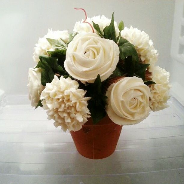 White roses and hydrangea cupcake bouquet