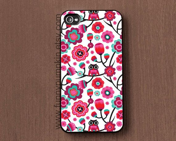 Owl and Flowers phone cases for iphone 4, iphone 5, iphone 4s case cover, Samsung case for Galaxy s2,  Galaxy s3, s4 case, ipod 4 5 case on Etsy, $9.99