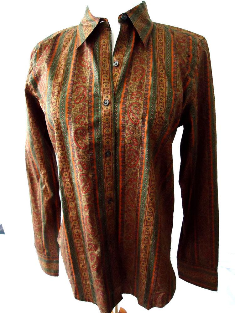80e63850 NWT Women's Ralph Lauren CHAPS Paisley Button-down Shirt Blouse P/M Long  Sleeve