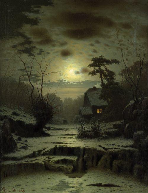 Oldpaintings Winter Landscape At Full Moon 1869 By Louis Douzette Carl Ludwig Christoph Douzette German 1834 1924 Night Art Winter Landscape Art