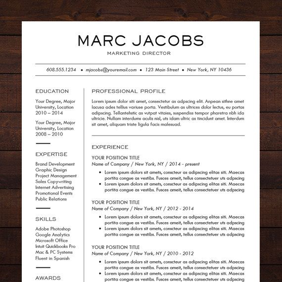 CV Template For Pages, Word