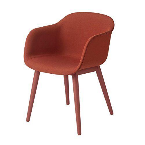 Muuto Fiber Chair Armlehnstuhl mit Holzgestell, staubrot