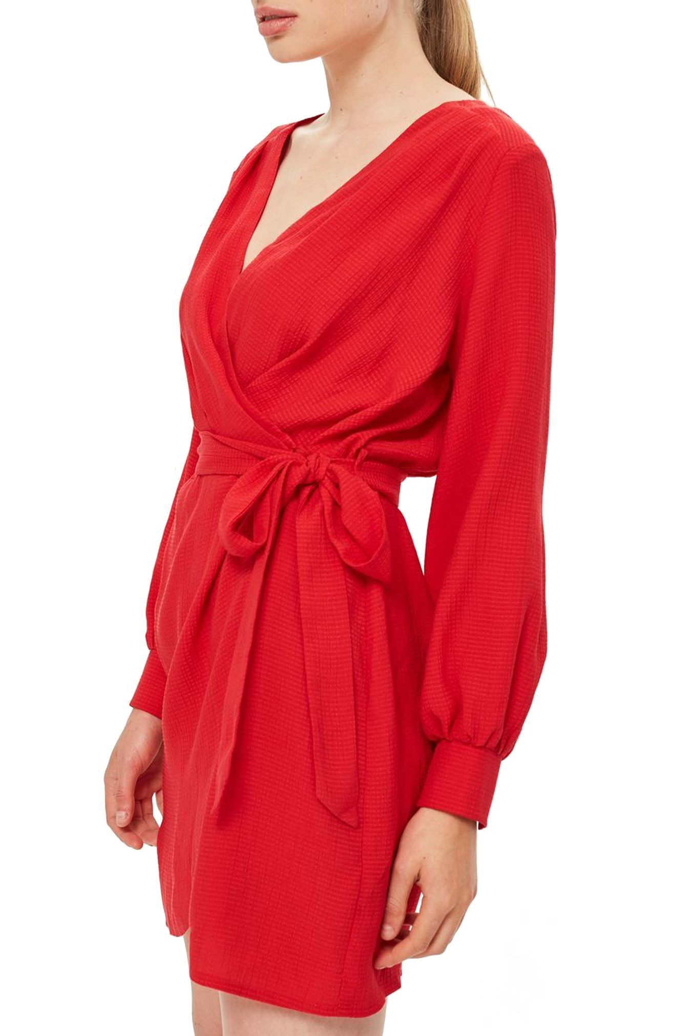 b3485340d8 It looks like wrap dresses are sticking around! I love this red wrap dress  from Topshop! It is such a feminine style and that red is so eye catching!