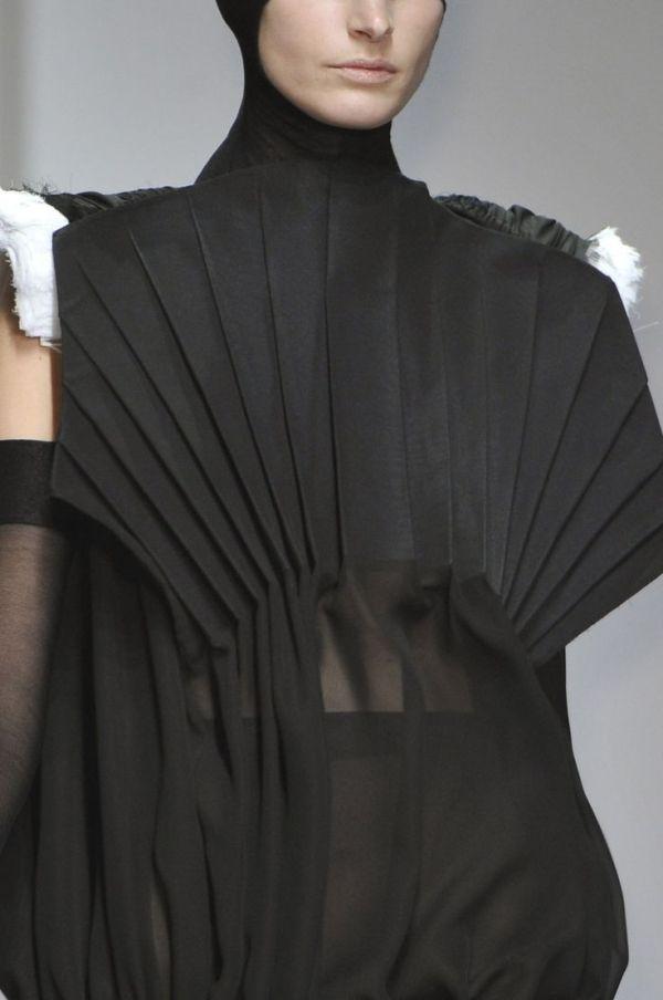Sheer black dress with pleated fan bodice; creative pattern cutting; fabric manipulation; fashion detail // Teruhiro Hasegawa by eleanor