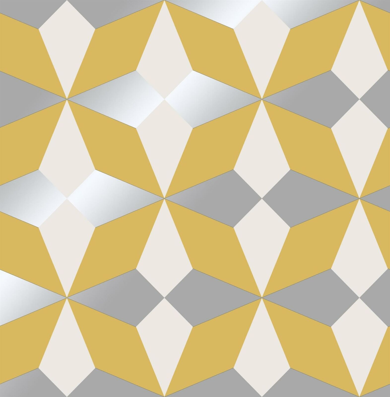 Details about Geometric Wallpaper Yellow White Silver