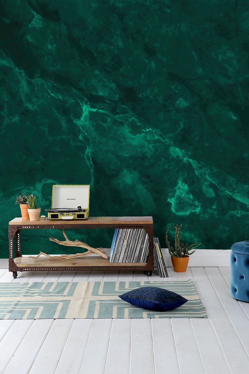 Emerald Green Abstract Wallpaper Self Adhesive Peel And Etsy Green Painted Walls Abstract Wallpaper Wall Wallpaper