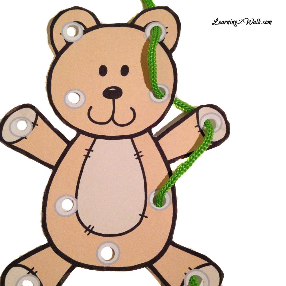 teddy bear kindergarten worksheet set lacing cards motor