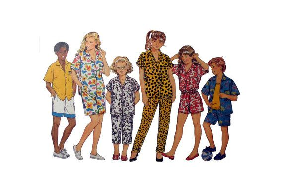Boys or Girls Button Up Summer Shirt, Elastic Waist Pants and Shorts Butterick 4685 Size 7, 8, 10, 12, 14 Sewing Pattern Uncut