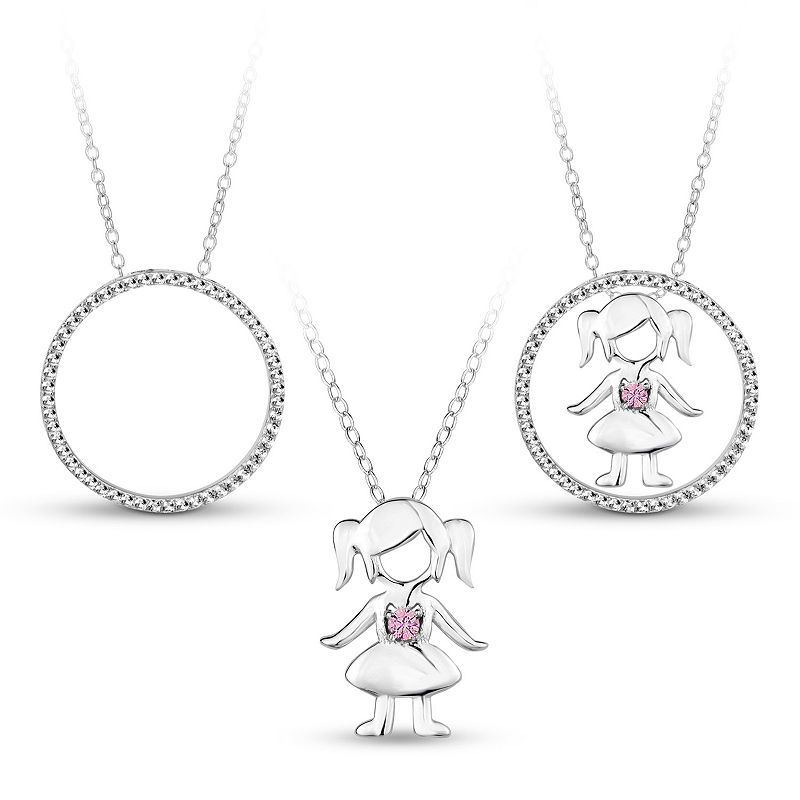 Sterling Silver Circle Dangle Heart Interchangeable 3 in 1 Cubic Zirconia Necklace 18 Chain Included
