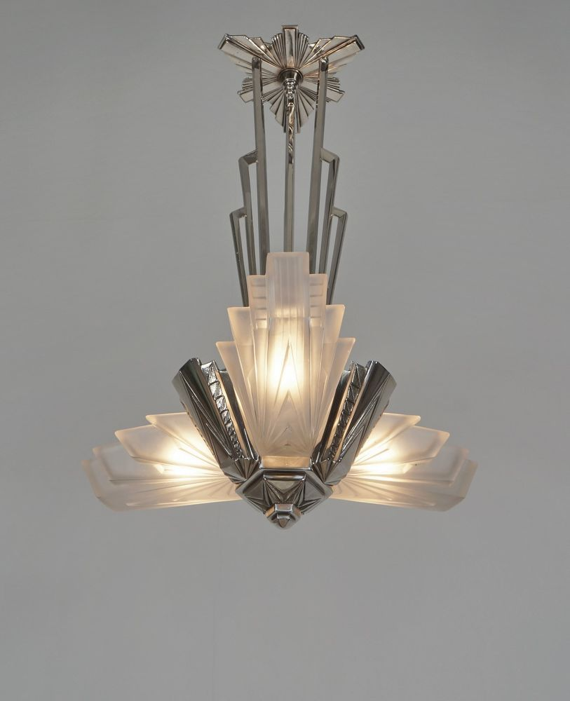 Petitot French 1930 Art Deco Chandelier