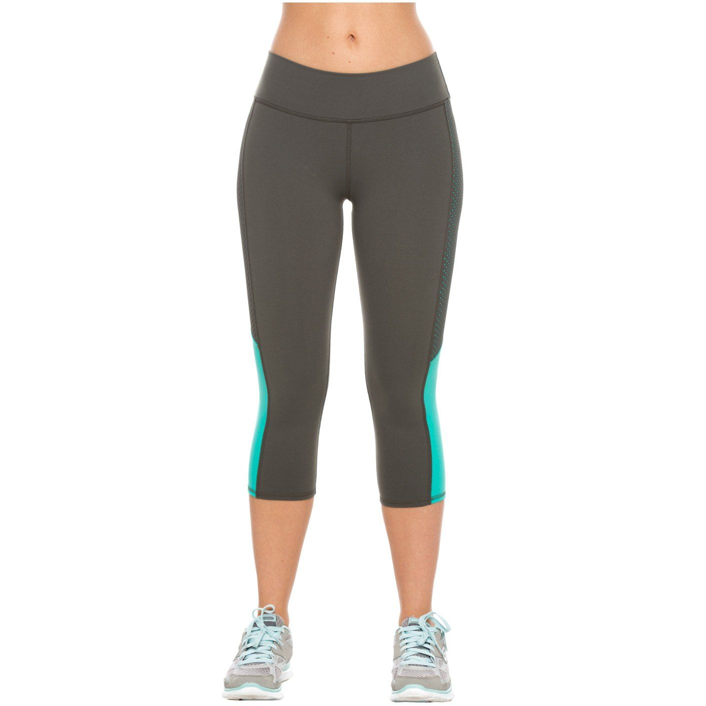 Activewear Womens Mid Rise Workout Slimming Capri Leggings with Tummy Control - L / Gray-Mint