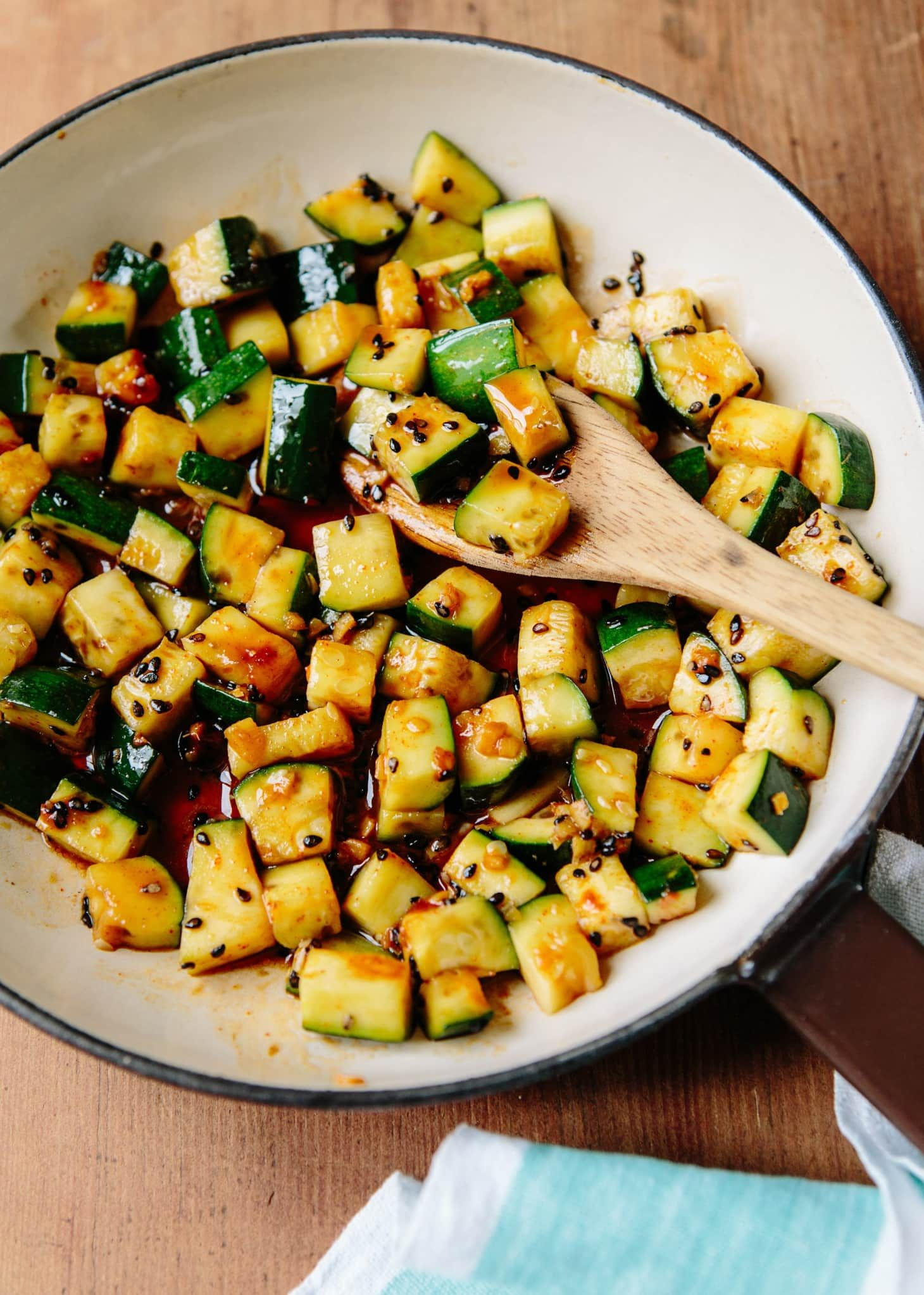 Michael Natkin S Spicy Stir Fried Zucchini Recipe With Images Skinny Taste Recipes Fried Vegetable Recipes Vegetable Recipes