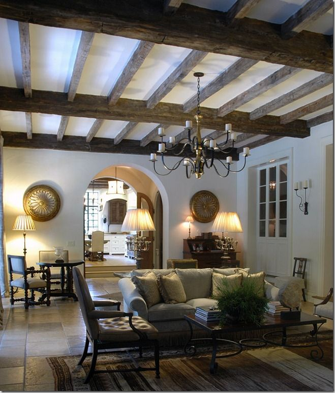 Wood beam ceiling chandelier mediterranean style master for Arched ceiling beams