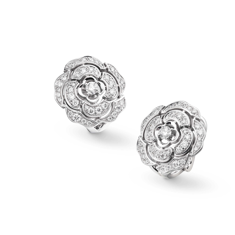 c4d94c9faf375e Camélia earrings - Bouton de Camélia earrings in 18K white gold and diamonds  with center diamonds