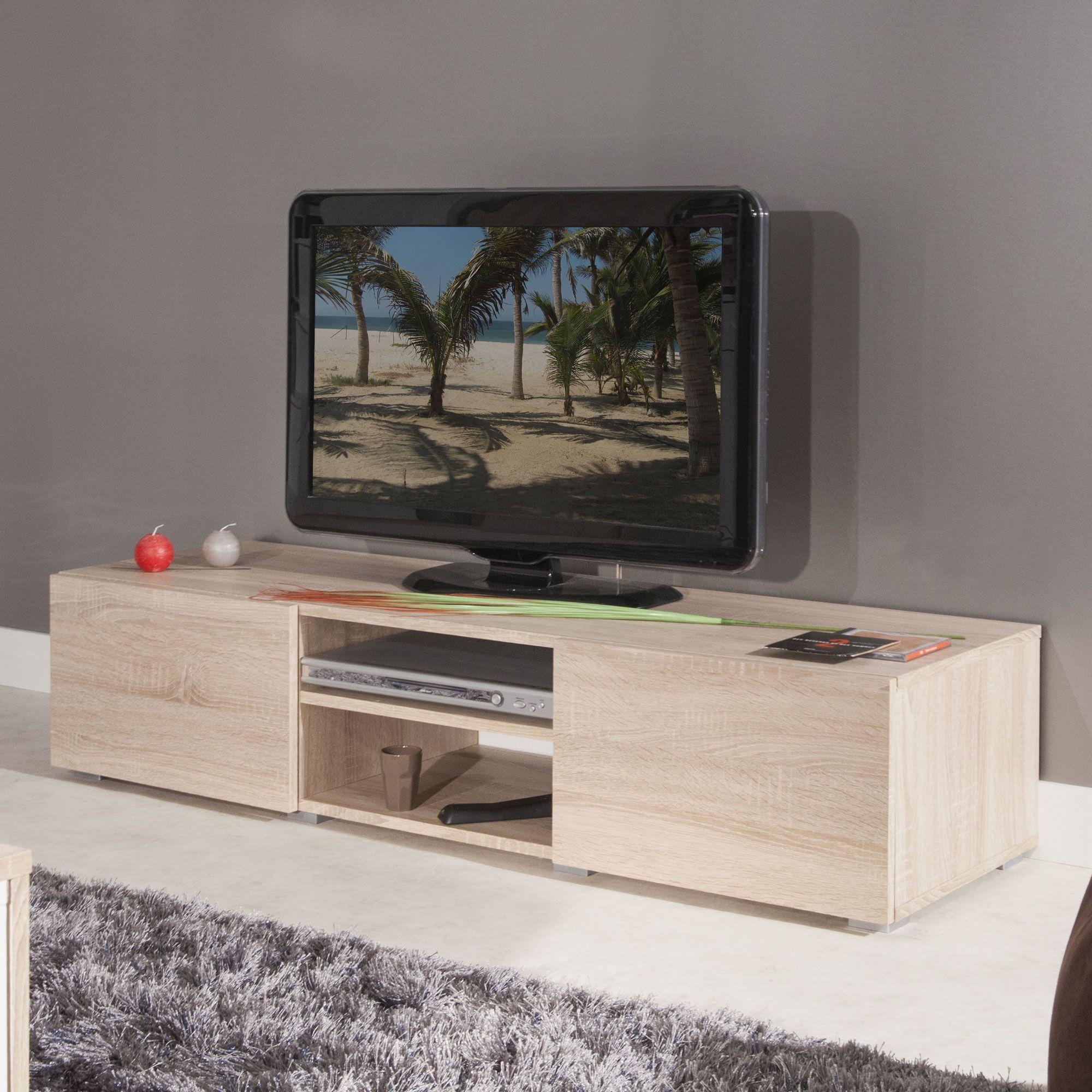Meuble tv 2 niches 2 tiroirs en bois l140xp42xh31cm glossy for Meuble tv niche