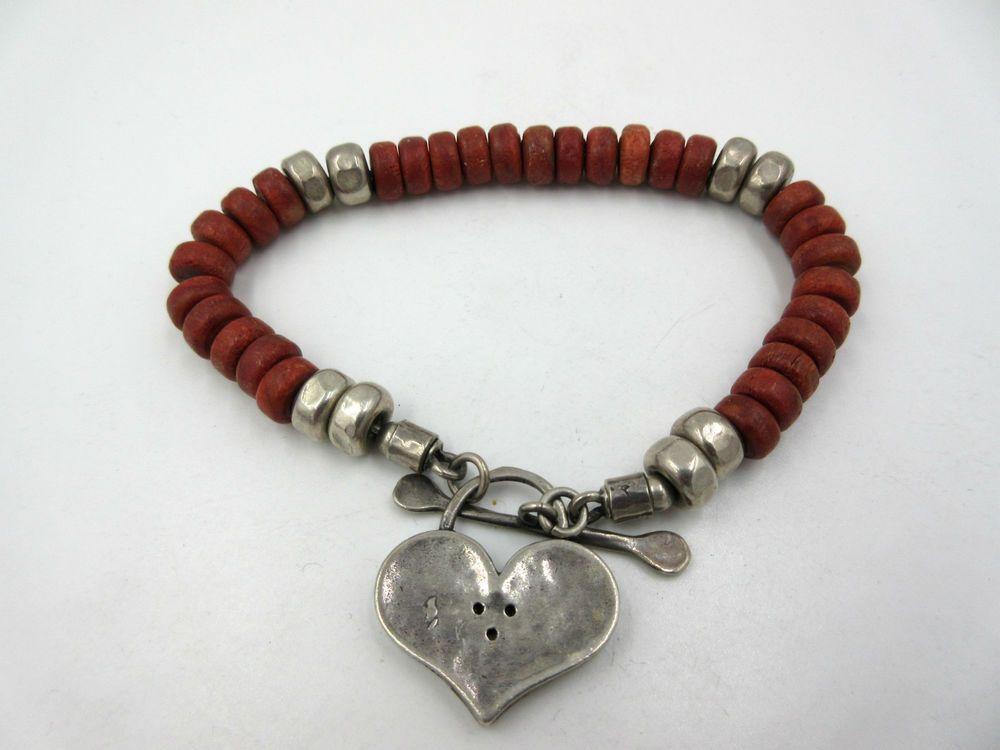 Vintage Red Coral Sterling Silver Bead Heart Bracelet Signed
