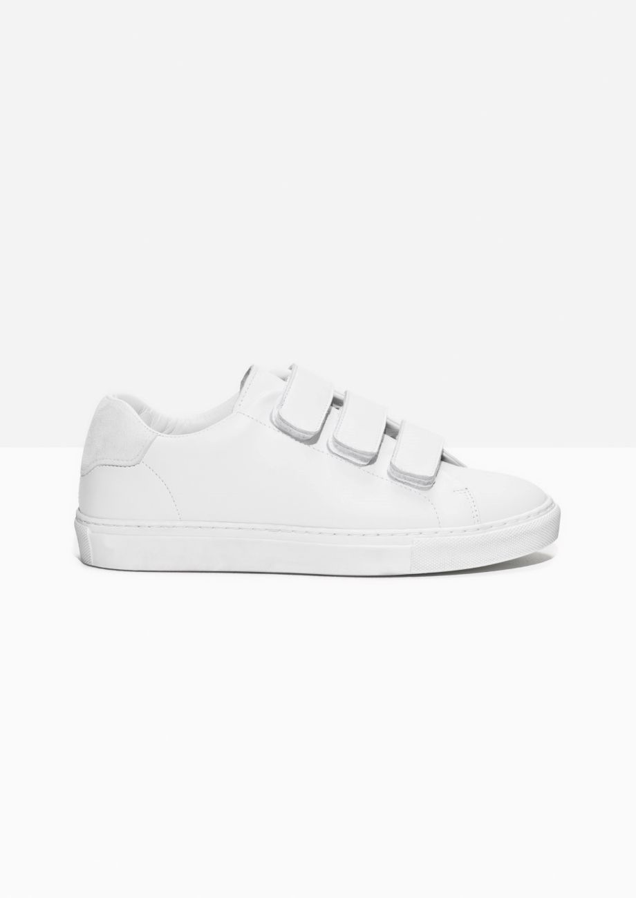 newest b3d91 3942d Other Stories image 1 of Scratch Strap Leather Sneaker in White