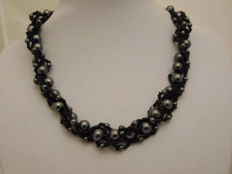 Handmade Hematite Necklace, Gemstone Bead weave Necklace, Black and ...