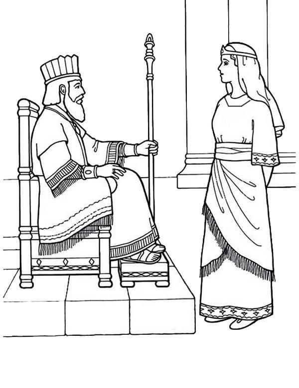 Coloring Page Queen Esther | Bible coloring pages, Queen ...
