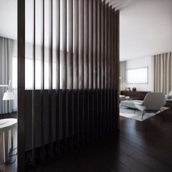 Wood slat room divider misc pinterest wood slats for Stylish house dividers