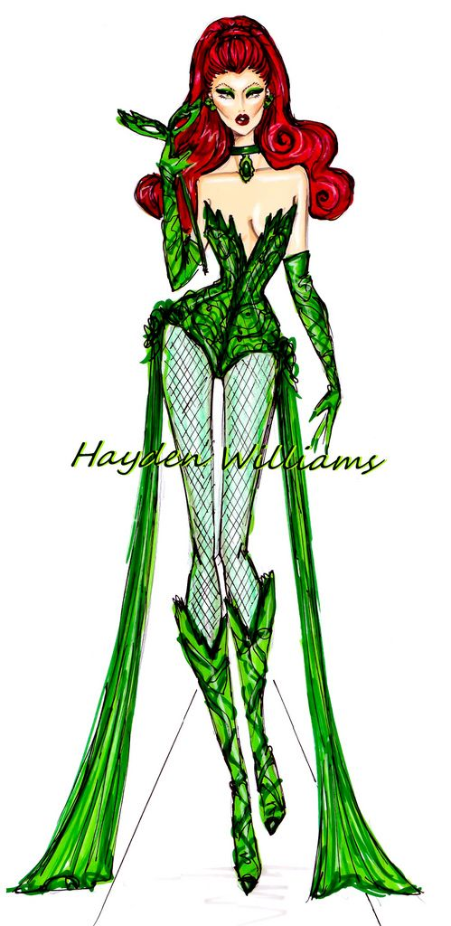 #Hayden Williams Fashion Illustrations: 'Halloween Masquerade' by Hayden Williams: Poison Ivy