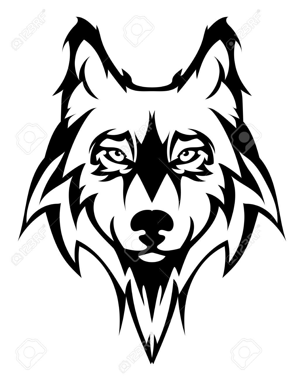ba49af96bb4b0 wolf face: Beautiful wolf tattoo.Vector wolfs head as a design element on  isolated