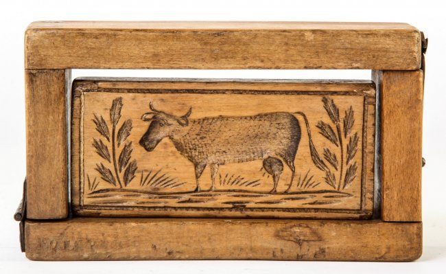 Antique Carved Wooden Cow Butter Mold Usa Lot 465 Butter Molds Antiques Antique Butter Molds