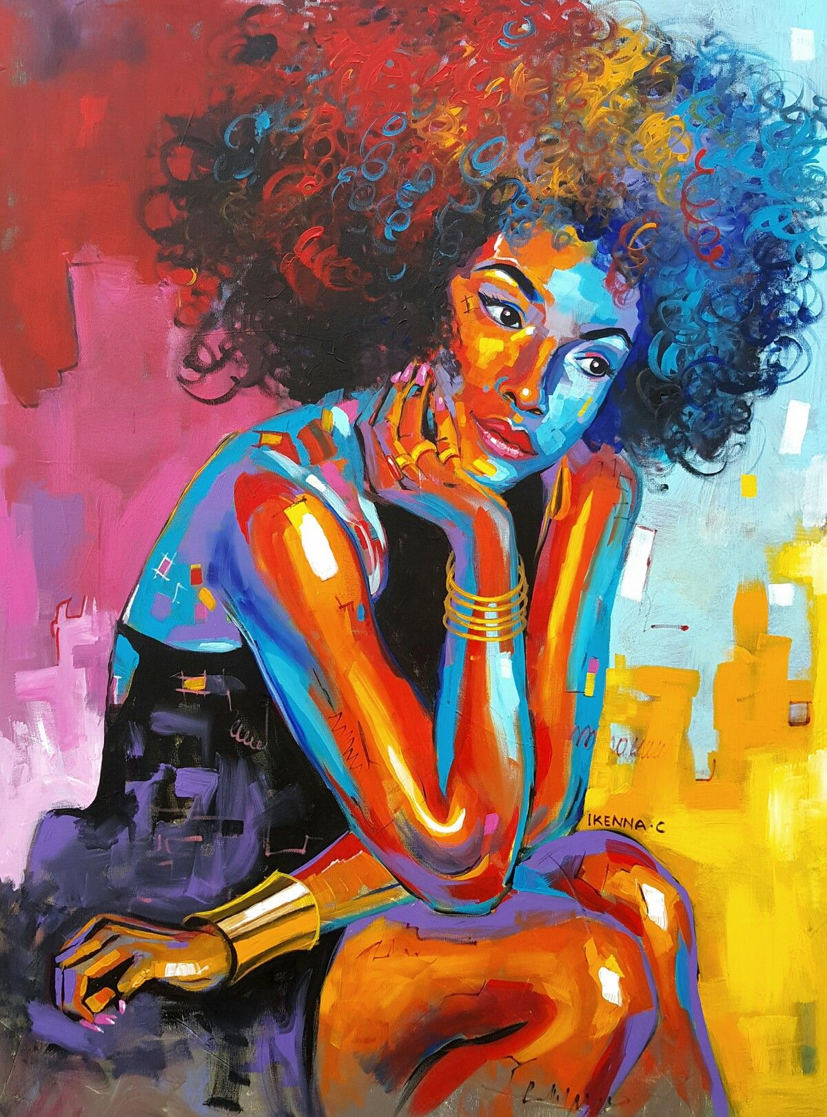 Image result for Afro Painting daydreaming