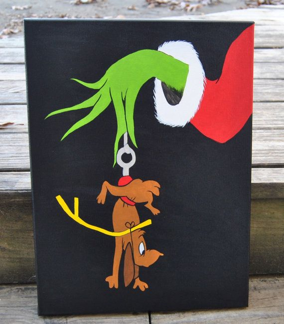 How The Grinch Stole Christmas Canvas Painting Max Grinch Wall Art Playroom Artwork Bedroom Decor Kids Christmas art