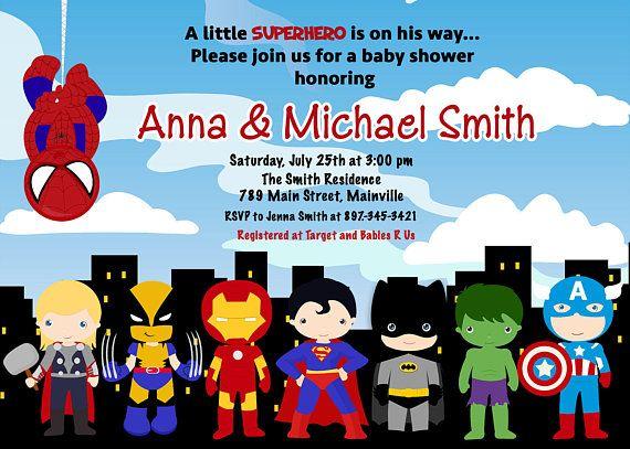 Superhero Baby Shower Invitation Printable Or Printed With