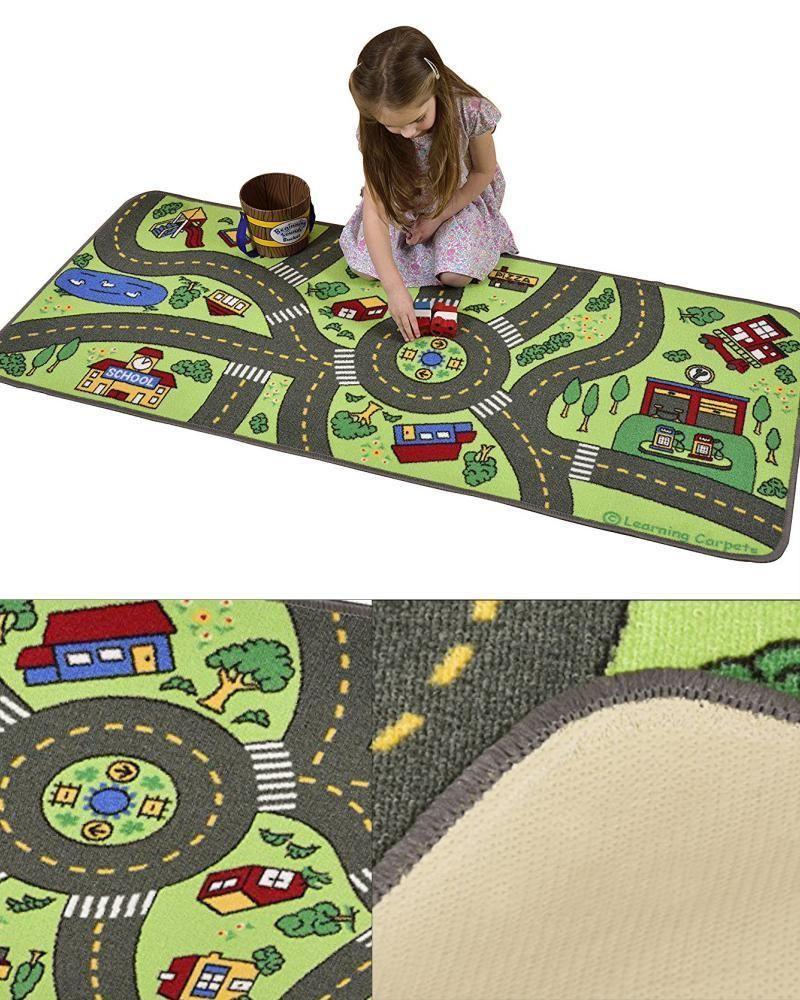 Kids Road Play Rug City Floor Carpet Children Car Mat Street Map Crawling Rugs Road Kids Play Rug Car Mats