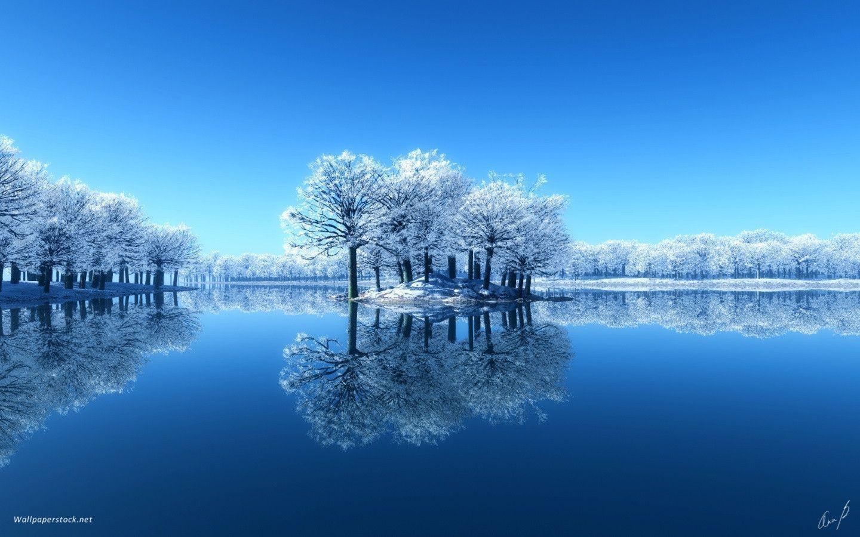 Blue Lake Winter Wallpaper 1440x900 Fond Ecran Hiver Fond