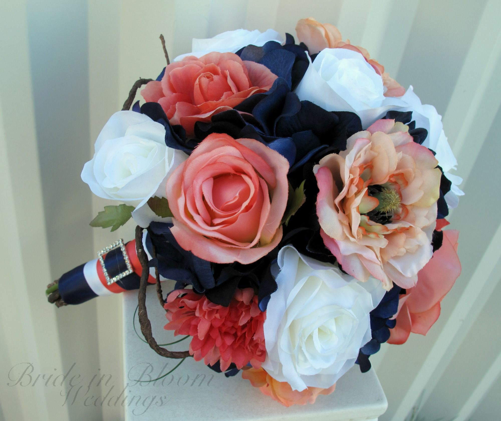 Wedding Bouquet Coral Navy White Rose Silk Bridal Flowers Curly