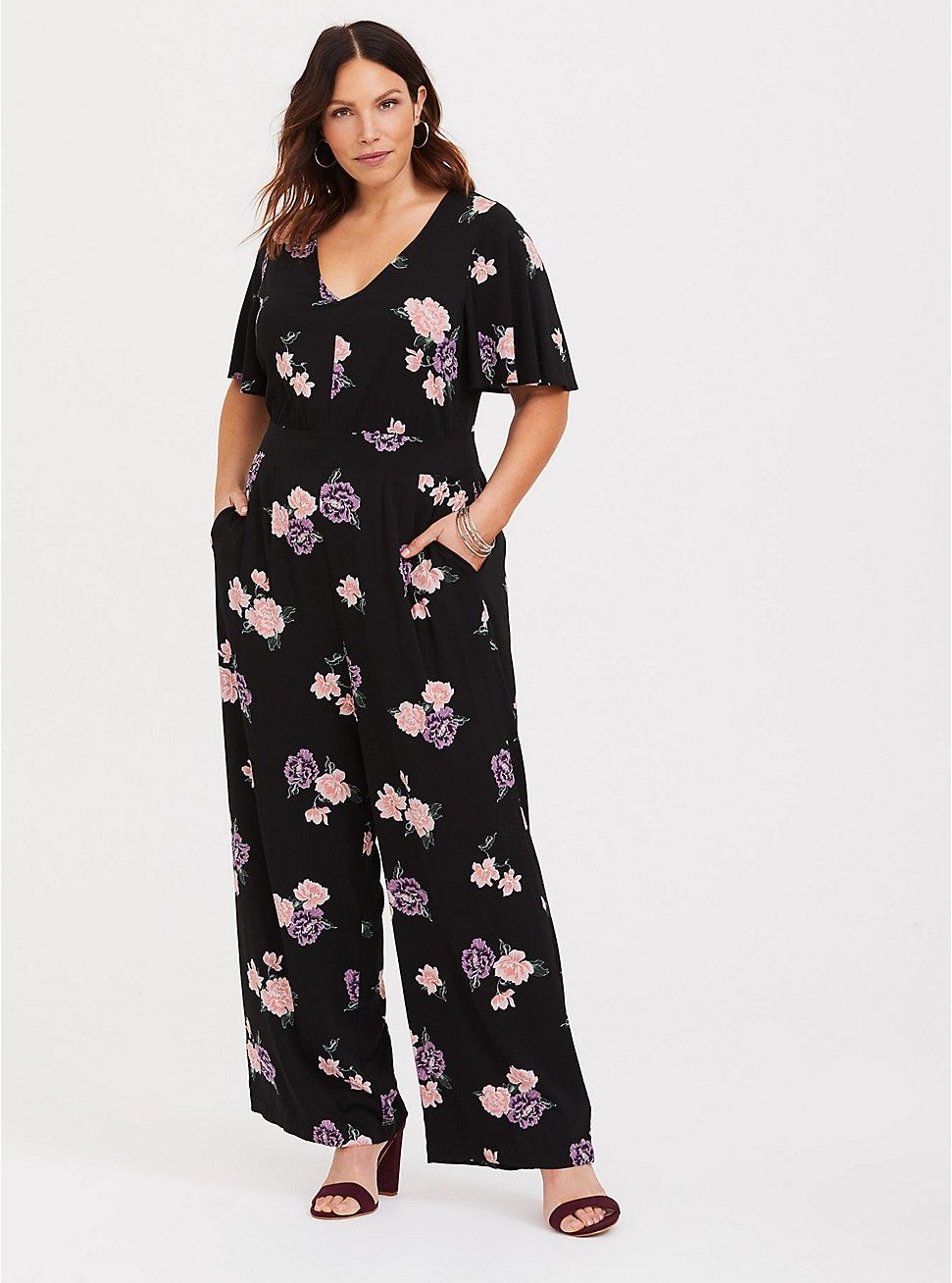 e2c78c90ea Black Floral Challis Jumpsuit in 2019 | Clothing ideas | Jumpsuit ...