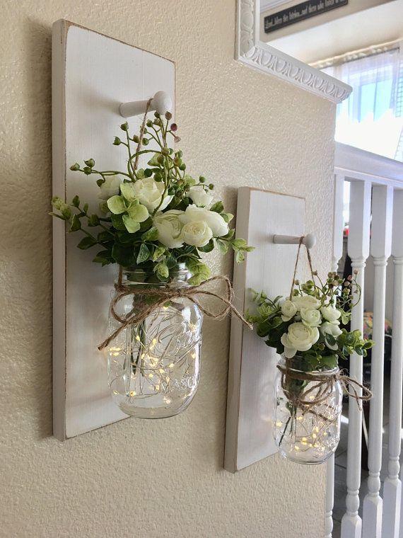 Hauptdekor-Weckglas-Leuchter-Weckglas-Dekor-Bauernhaus-Wand #diyhomedecor