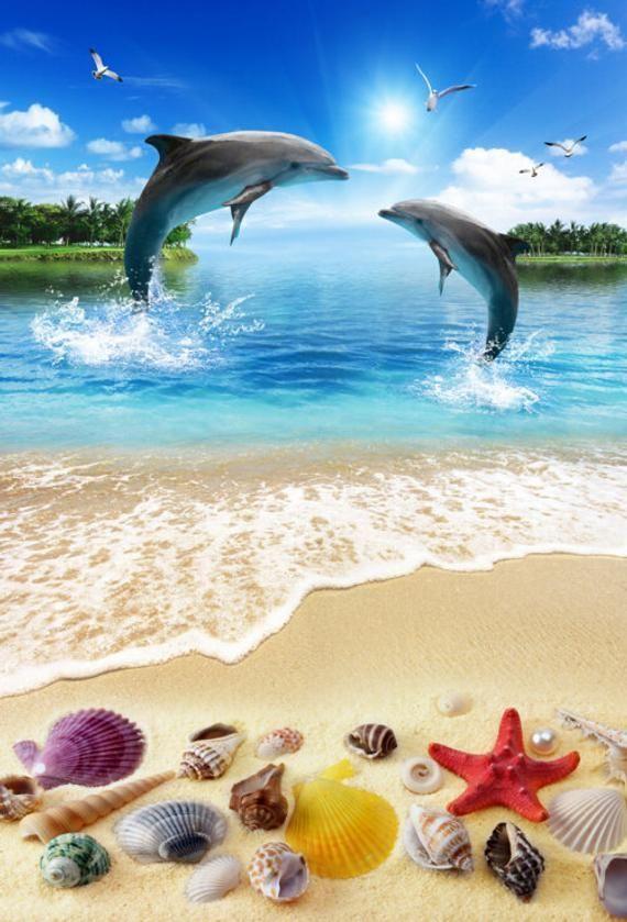 3D Sea Dolphin F652 Floor Wallpaper Murals Self-Adhesive | Etsy