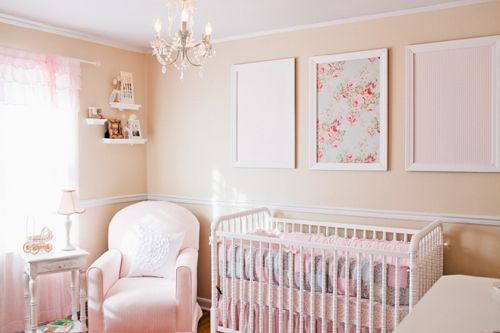 pink white elegant romantic shabby chic girl nursery crib corner with glider and art framed. Black Bedroom Furniture Sets. Home Design Ideas