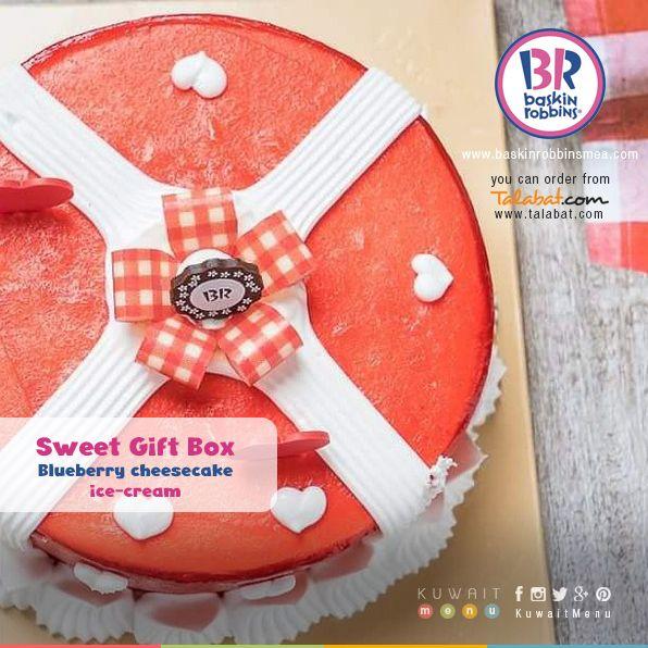 سويت جفت بوكس آيس كريم تشيز كيك مع التوت والفراولة Sweet Gift Box Blueberry Cheesecake Ice Cream Cheesecake Ice Cream Blueberry Cheesecake Baskin Robbins