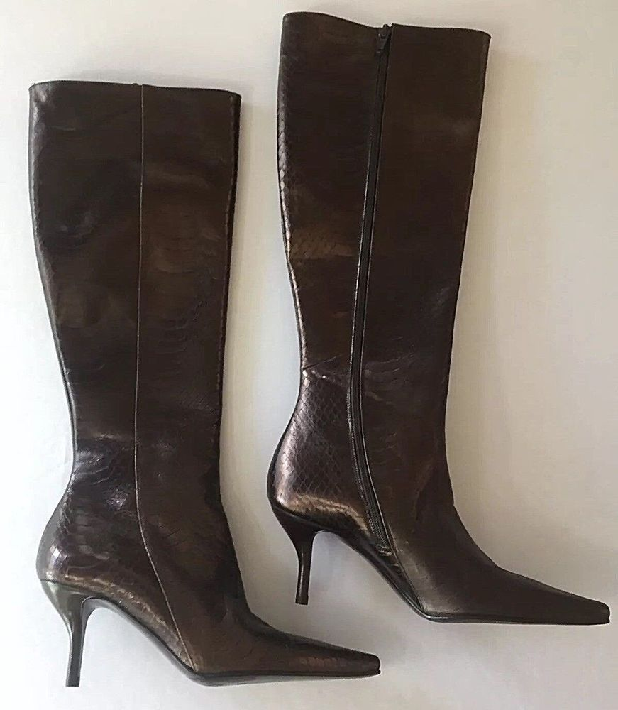 6 5 B Cole Haan Tall Boots Brown Kitten Heel 6 1 2 B Pointed Toe Textured Italy Colehaan Highheelbootszippersides Dress Tall Brown Boots Boots Heels