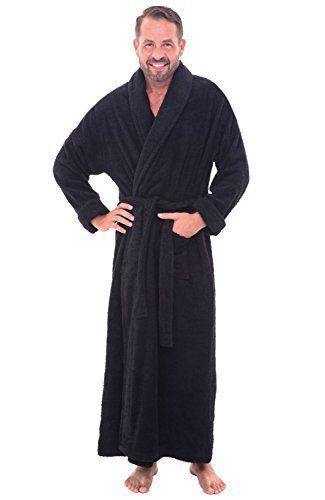 c26fd817ff Mens Long Black Bathrobe Small Medium Terry Cloth 100% Cotton Spa Robe Soft  S M  DelRossa  Robes