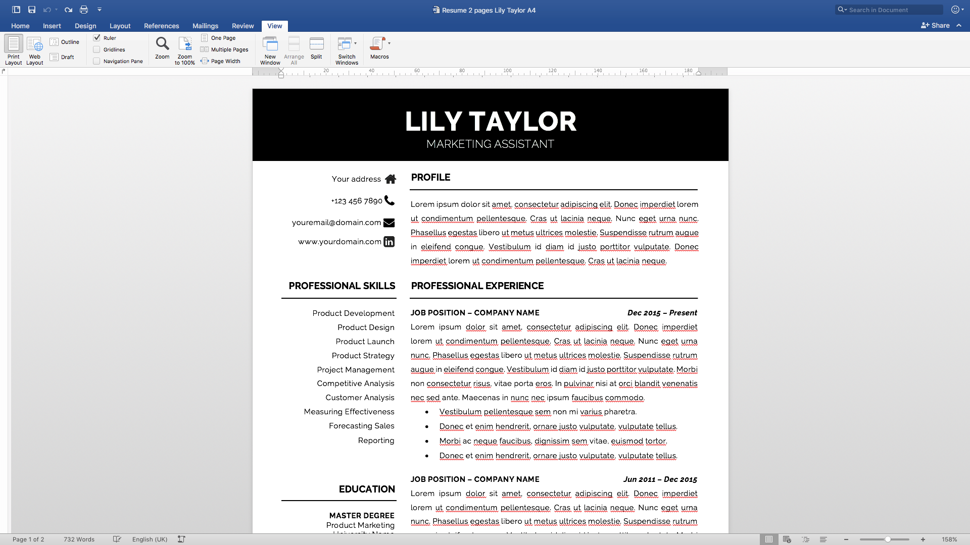 Modern Resume Template Instant Download / 1 & 2 Pages / Cover Letter ...
