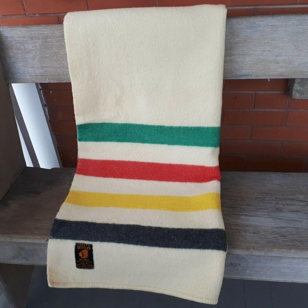 Vtg Early S Settler Wool Blanket Made In Witney England