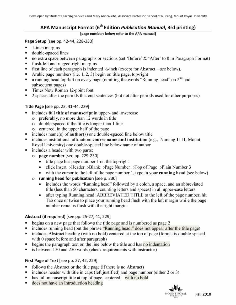 Apa Format Example With Page Number Cover Resume