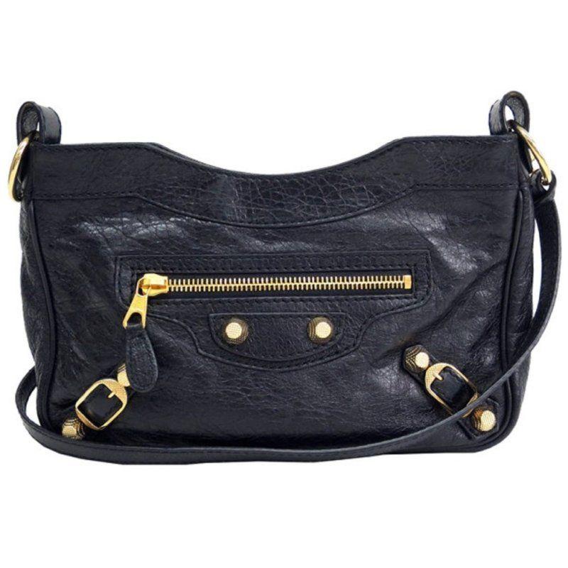 b8651f8959ab Balenciaga Classic City Hip Lambskin Black Leather Cross Body Bag Color   black Open zipper Hand