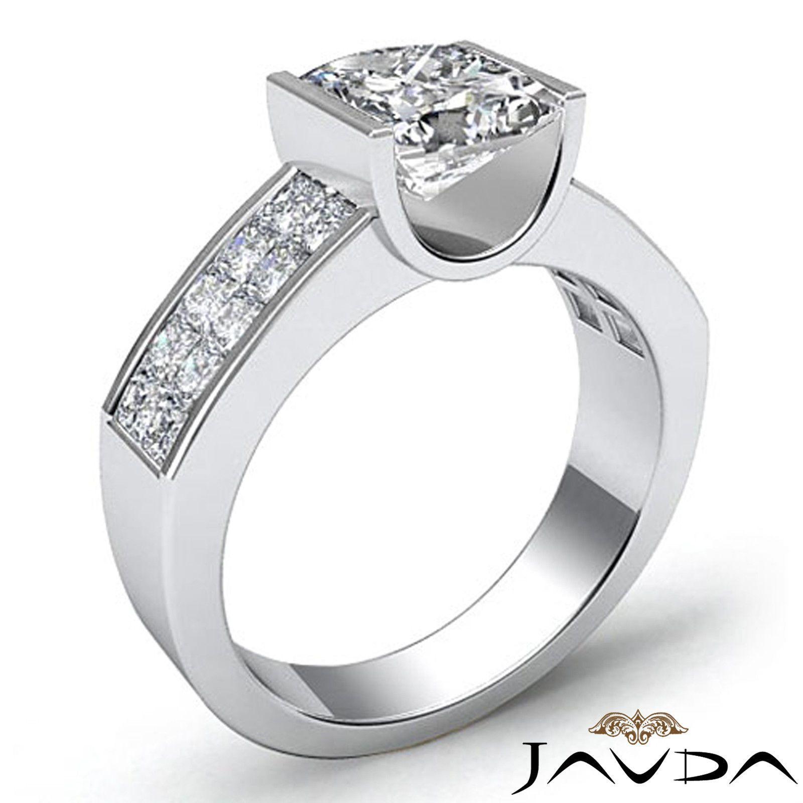 Ladies White Gold Finish Princess Diamond Invisible Engagement Wedding Ring