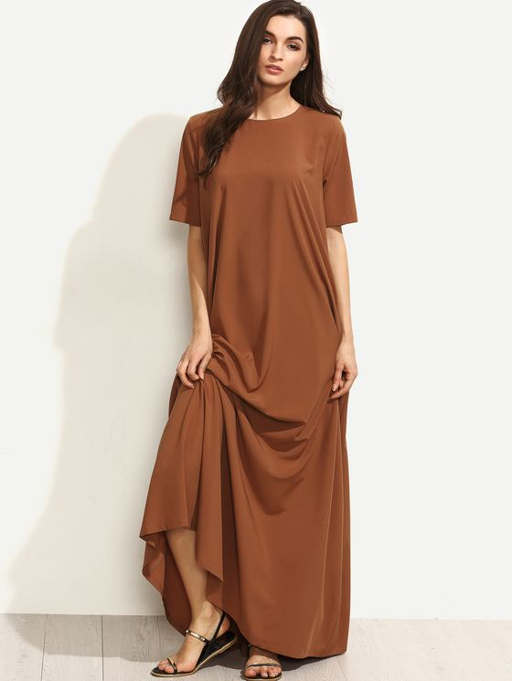 Online shopping for Brown Short Sleeve Zipper Back Maxi Dress from a great selection of women's fashion clothing & more at MakeMeChic.COM.