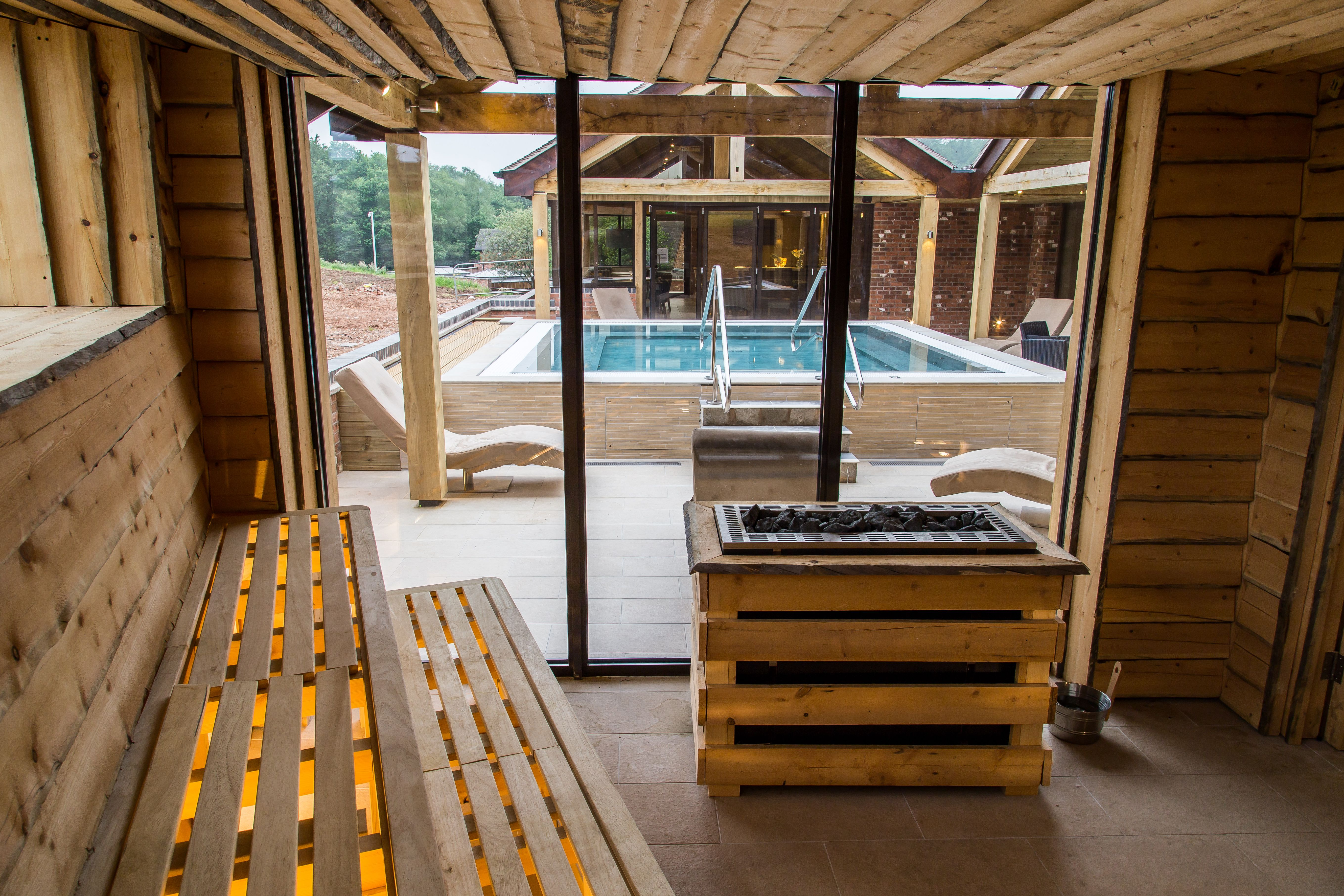 Our kelo sauna, with a view of the vitality pool! Moddershall Oaks Country Spa Retreat