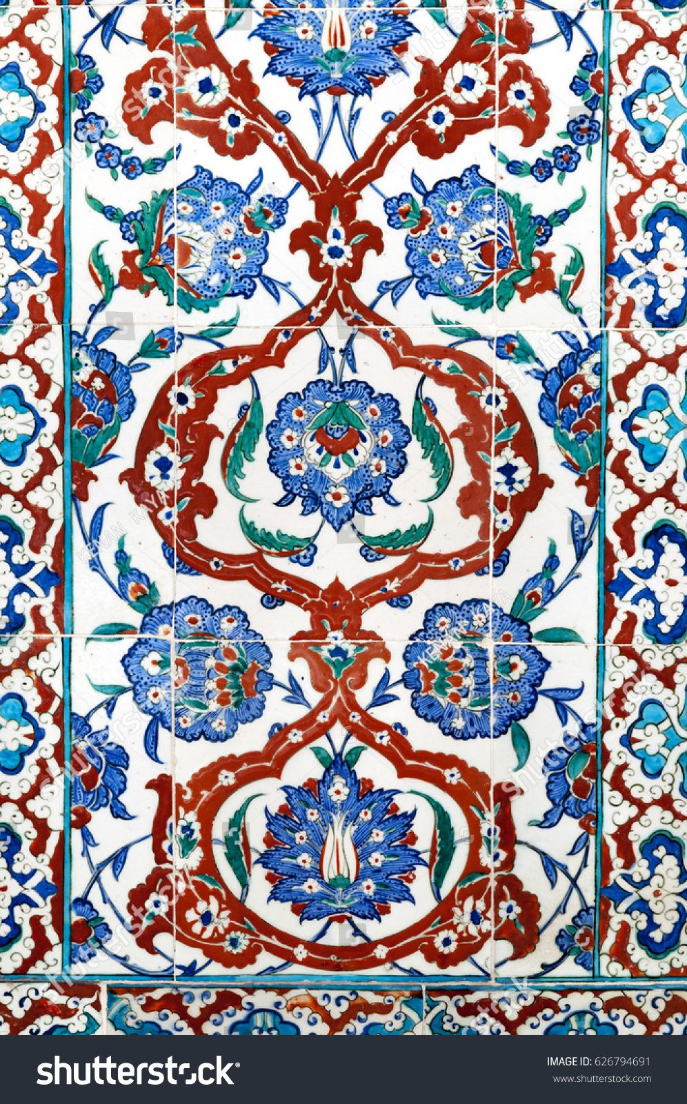 Ancient Ottoman patterned tile composition. | Çini | Pinterest ...