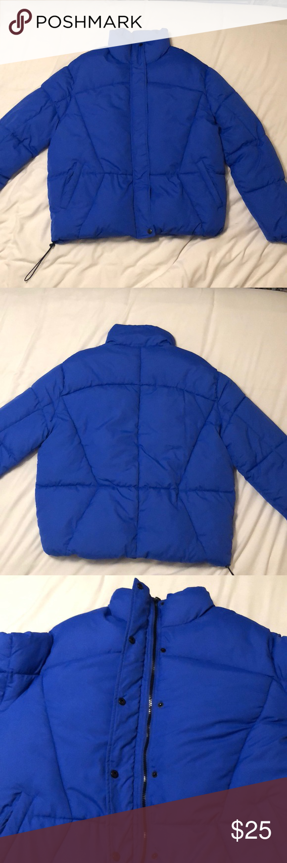 Unisex Medium Puffer A Royal Blue Puffer Jacket With High Collar And Pockets With Black Buttons Prettylittlet Blue Puffer Jacket Clothes Design Fashion Design [ 1740 x 580 Pixel ]